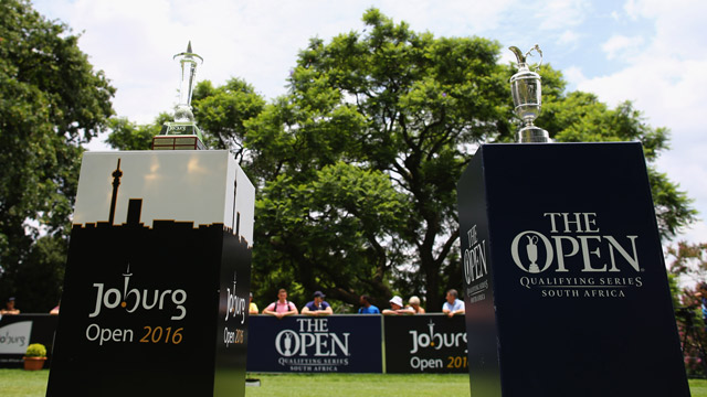 The Claret Jug on display at the 2016 Joburg Open.