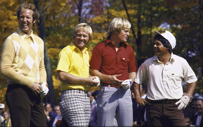 Tom Weiskopf, Jack Nicklaus, Johnny Miller, and Lee Trevino in Columbus, Ohio, in October 1975. 10/11/1975MANDATORY CREDIT: Marvin E. Newman/Sports Illustrated SetNumber: X19930
