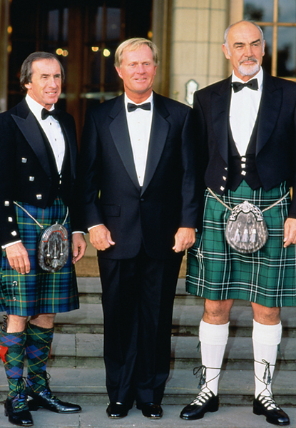 Sir Jackie Stewart, Jack Nicklaus and actor Sean Connery line up together in kilts at the 2005 British Open.