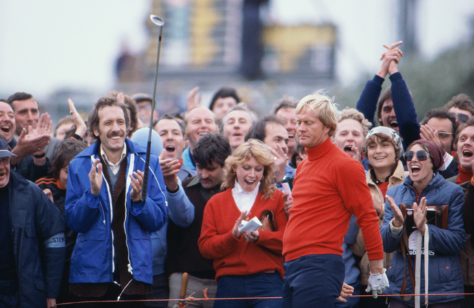 Jack Nicklaus celebrates after chipping in a shot during the 1979 British Open at Royal Lytham and St. Annes.