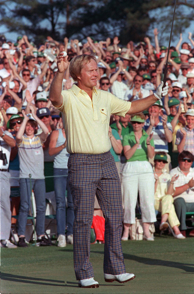Jack Nicklaus reacts as he finishes on the 18th to win the 1986 Masters Championship.