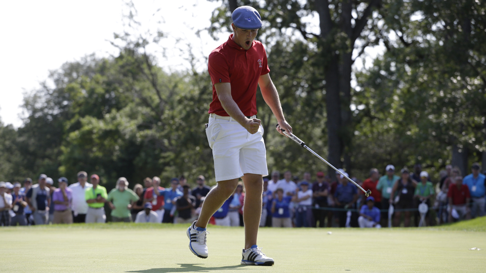 Bryson DeChambeau reacts after putting on the 26th green during the final round of the 115th U.S. Amateur Championship at Olympia Fields Country Club on Aug. 23, 2015, in Olympia Fields, Ill.