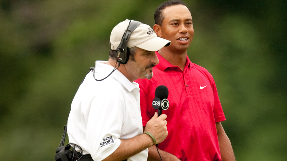 "Feherty on the media: ""With every round Tiger plays, there's a forest of microphones -- and a bunch of pricks holding them."" Present company excluded, of course."