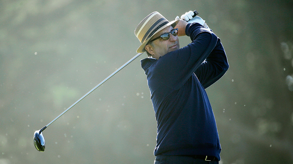 Actor Andy Garcia hits a tee shot on the fifth hole during the first round of the AT&T Pebble Beach National Pro-Am at Monterey Peninsula Country Club on February 12, 2015 in Pebble Beach, California.