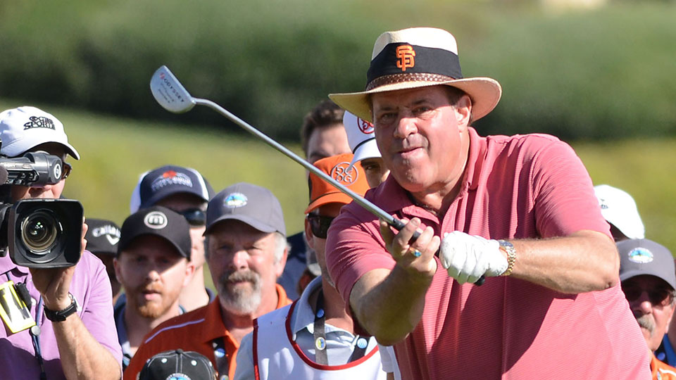 Chris Berman reacts after a shot on the 18th hole during the 3M Celebrity Challenge before the AT&T Pebble Beach National Pro-Am at the Pebble Beach Golf Links on February 11, 2015 in Pebble Beach, California.
