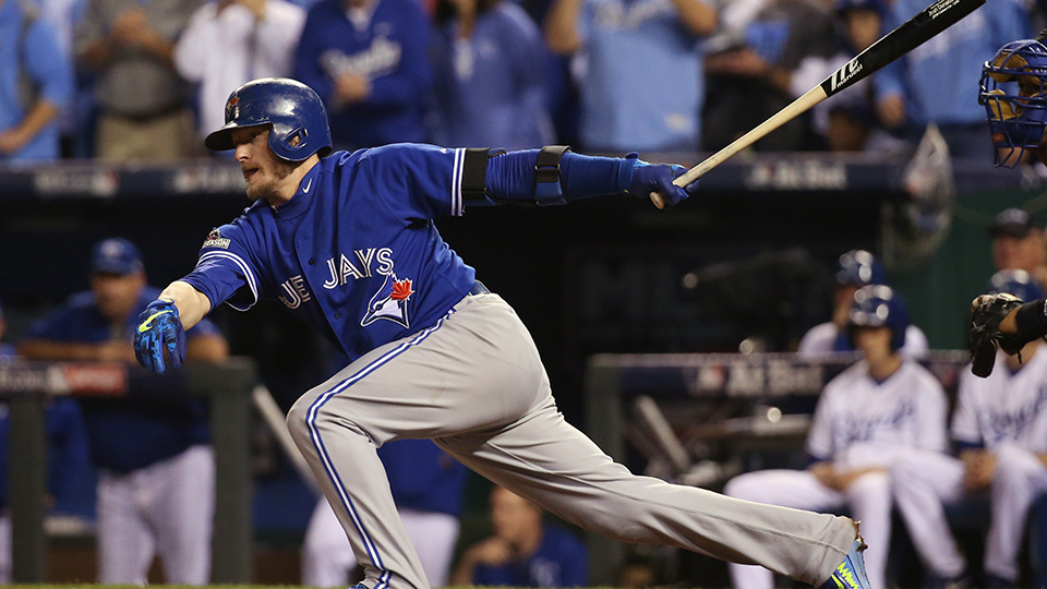 Toronto Blue Jays third baseman Josh Donaldson hits a grounder to end the game in Game 6 of the 2015 ALCS at Kauffman Field.