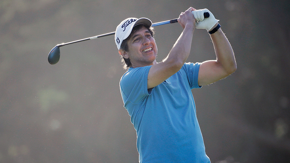 Comedian Ray Romano watches his tee on the fifth hole during the first round of the AT&T Pebble Beach National Pro-Am at Monterey Peninsula Country Club on February 12, 2015 in Pebble Beach, California.