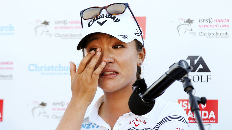 Lydia Ko gets emotional over winning the ISPS Handa New Zealand Women's Open after an earthquake hit.