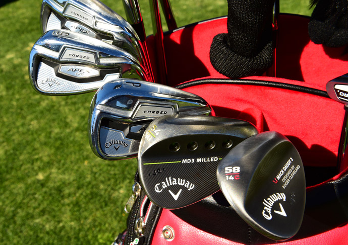 Jason Gore carries Callaway forged Apex Pro irons, MD3 wedges, an XR Sub Zero driver, Odyssey putter, and Gorilla headcover.