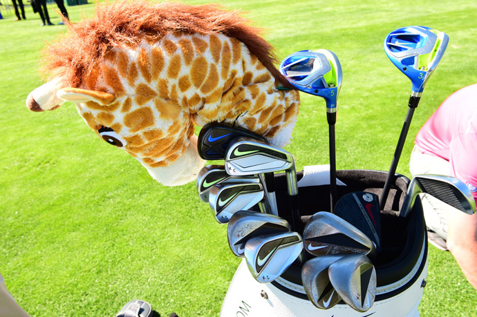 UCLA Bruin Kevin Chappel carries custom stamped Nike irons and wedges as well as Vapor Fly Pro woods a very large Giraffe.