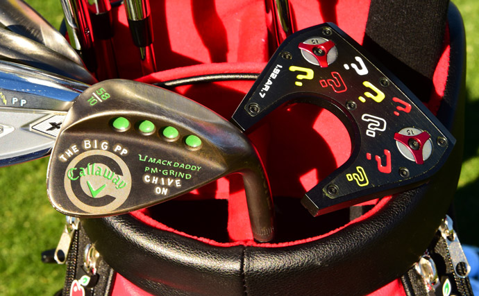 Pat Perez has plenty of custom stamps on his Callaway irons and wedges and his Odyssey putter.
