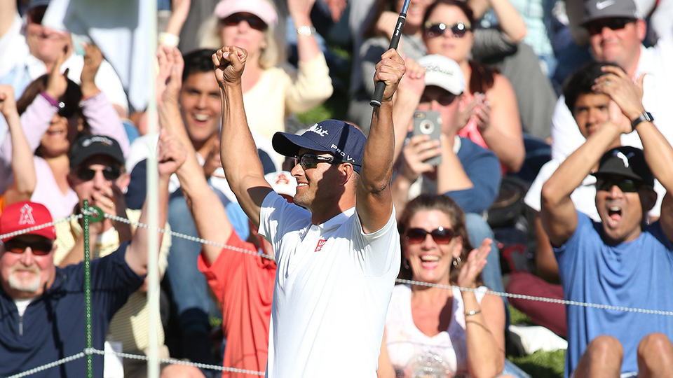 Adam Scott reacts to his chip-in on the 18th hole during the final round of the Northern Trust Open, Pacific Palisades,CA.