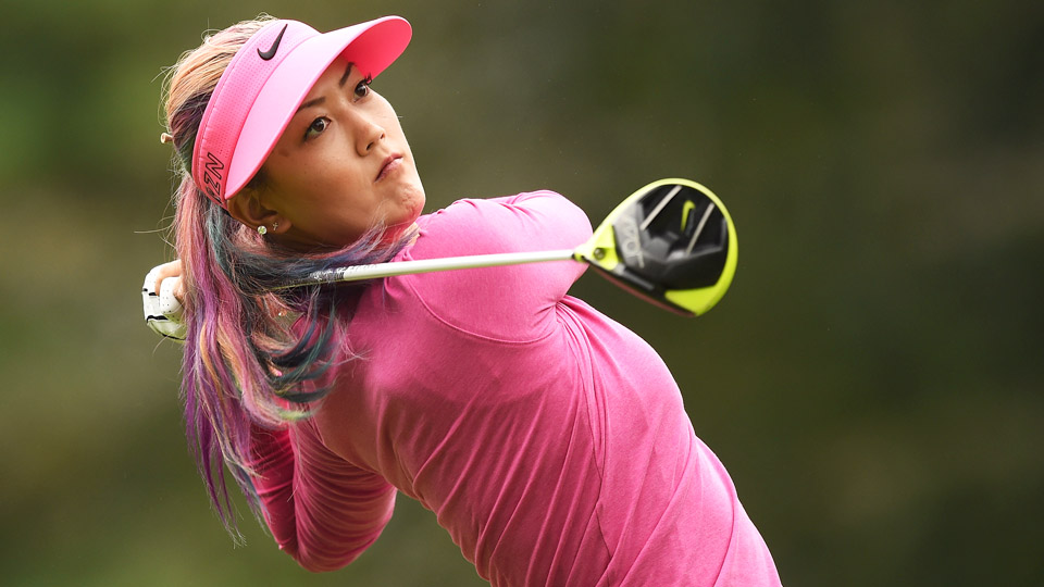 Michelle Wie tees off during the final round of the Evian Championship on Sept. 13, 2015, in Evian-les-Bains, France.