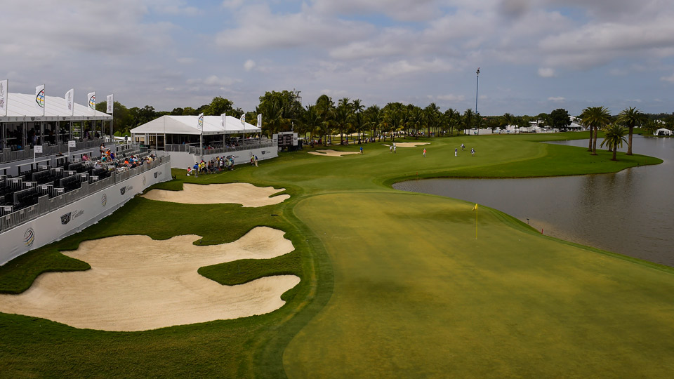 The 18th hole at Trump National Doral.