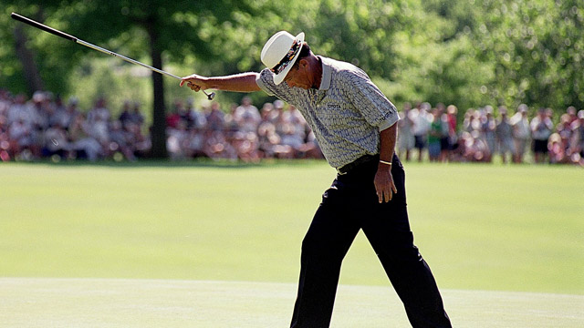 Chi Chi Rodriguez celebrates his putt during the U.S Senior Open at the Des Moines Country Club in Des Moines, Iowa.
