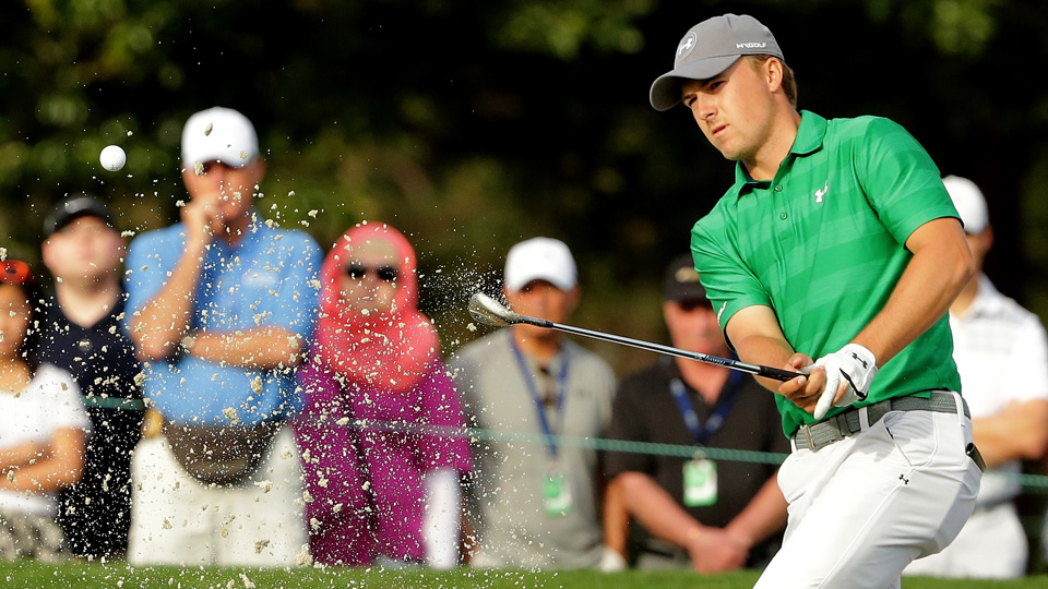 Jordan Spieth hits out of a bunker on the 10th hole during the first round of the Valspar Championship at Innisbrook Resort Copperhead Course on March 10, 2016, in Palm Harbor, Florida.