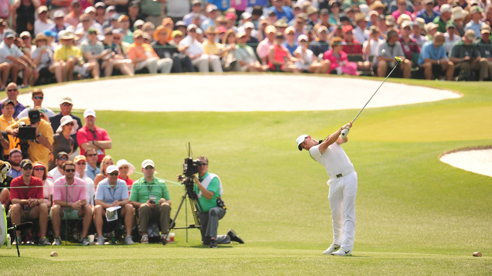 Rory McIlroy tees off on the third hole during the 2015 Masters, in which he finished fourth.