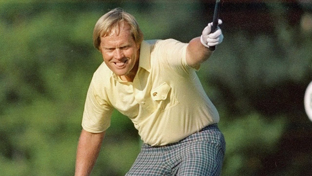 Jack Nicklaus watches his putt drop for a birdie on the 17th hole at Augusta National in this April 13, 1986