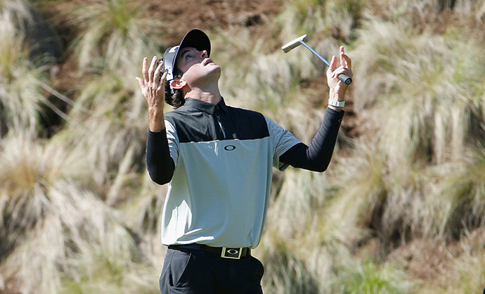 Bubba Watson of the United States reacts to a missed putt on the fourth green during the second round of the World Golf Championships-Dell Match Play at the Austin Country Club on March 24, 2016 in Austin, Texas.