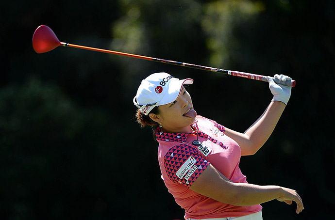Ha Na Jang of South Korea tees off the 2nd hole during Round One of the KIA Classic at the Park Hyatt Aviara Resort on March 24, 2016 in Carlsbad, California.