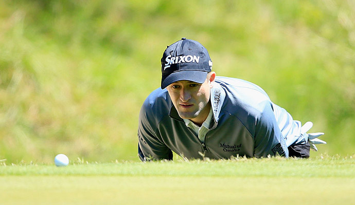 Russell Knox of Scotland lines up a putt on the seventh green during the second round of the World Golf Championships-Dell Match Play at the Austin Country Club on March 24, 2016 in Austin, Texas.