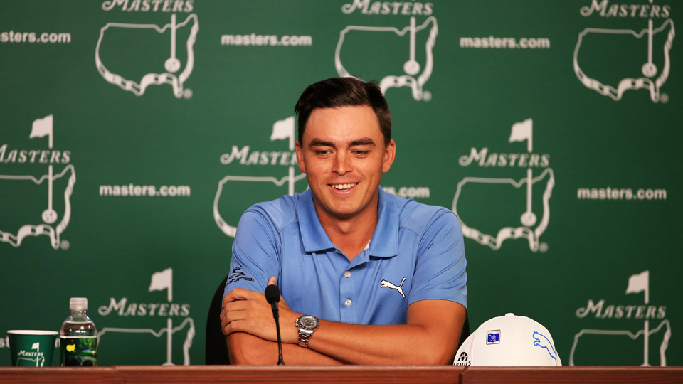 Rickie Fowler speaks to the media Tuesday at Augusta National.