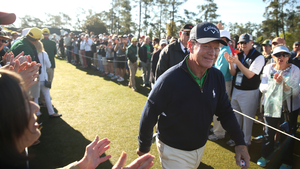 Tom Watson makes his way to the first green to begin his round on Thursday at Augusta National Golf Club.