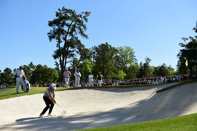 Keegan Bradley tries to escape a bunker during the second round.