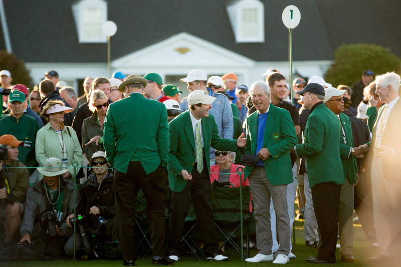 Two-time Masters champion Ben Crenshaw on the first tee prior to the ceremonial tee shots.