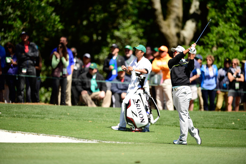 Matsuyama plays a shot during the third round at the Masters.