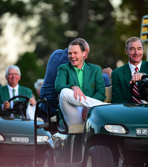 Willett being driven to the green jacket ceremony.