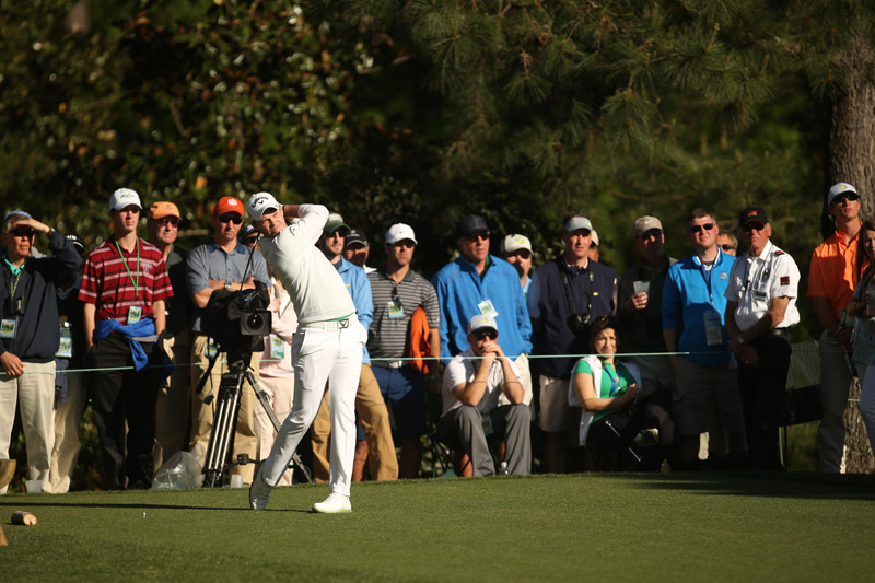 Danny Willett hits a tee shot during the final round of the Masters.