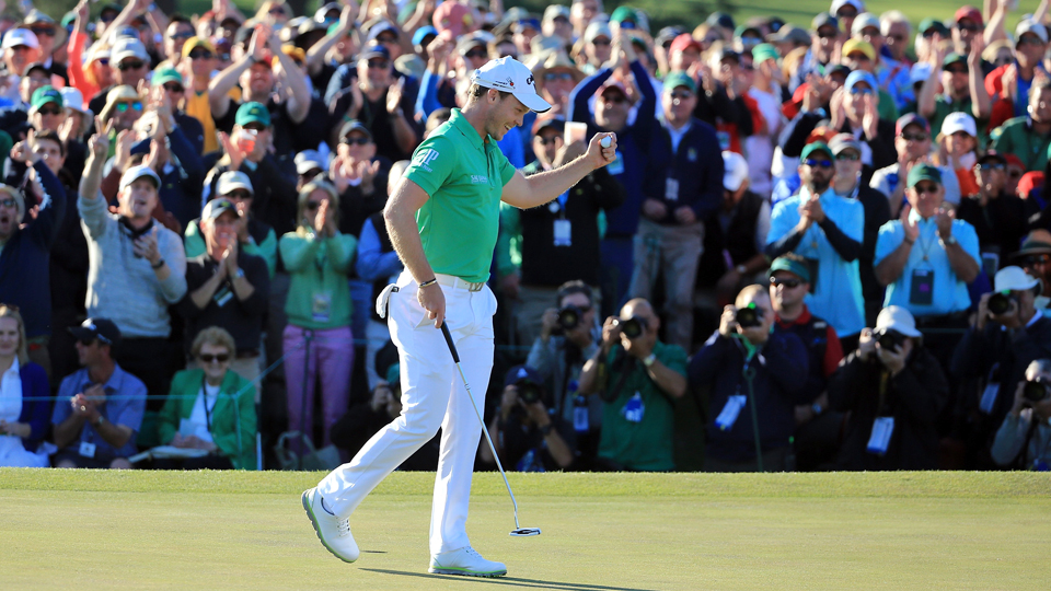 Danny Willett of England reacts after finishing on the 18th green during the final round of the Masters at Augusta National Golf Club on April 10, 2016, in Augusta, Georgia. Willett claimed his first major on Sunday.