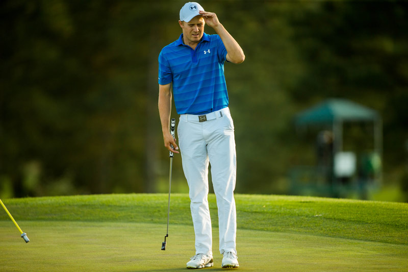 Jordan Spieth reacts following his last putt at the 18th green during the final round.