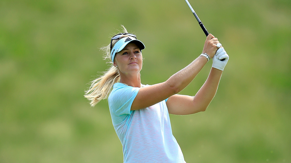 Anna Nordqvist of Sweden plays her second shot on the par 4, 10th hole during the second round of the 2015 KPMG Women's PGA Championship.