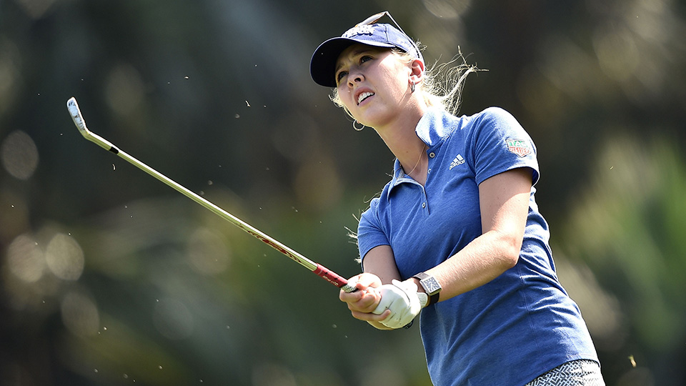 Jessica Korda plays a shot during the final round of 2015 Fubon LPGA Taiwan Championship.