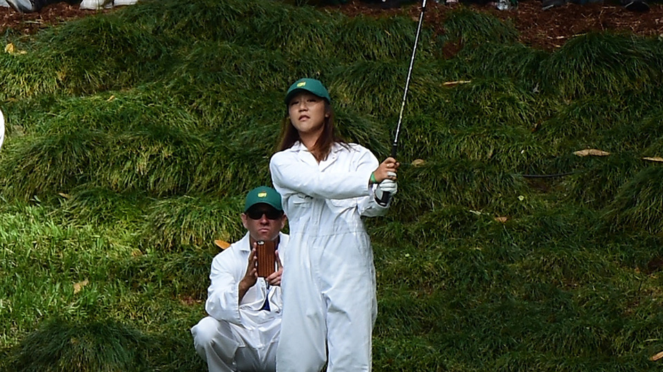 Lydia Ko plays a shot during the Par 3 Contest prior to the start of the 2016 Masters Tournament at Augusta National Golf Club.