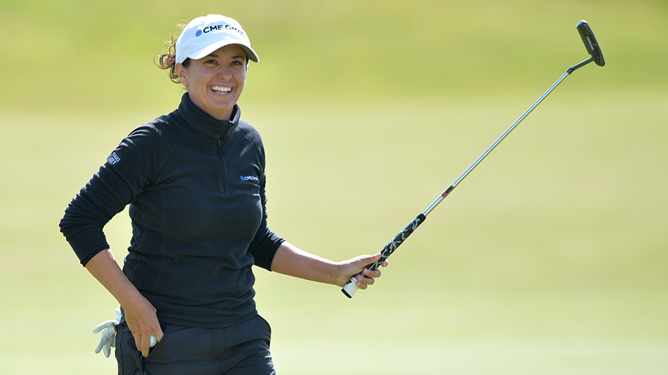 Mo Martin reacts after winning the 2014 Women's British Open at Royal Birkdale.