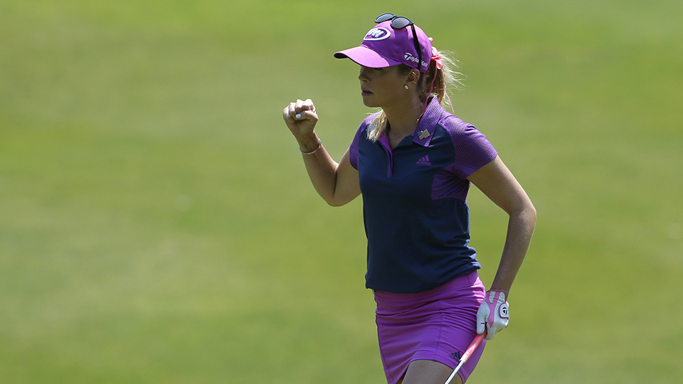 Paula Creamer reacts after chipping in for eagle on the third hole during the third round of the 2015 Kingsmill Championship.