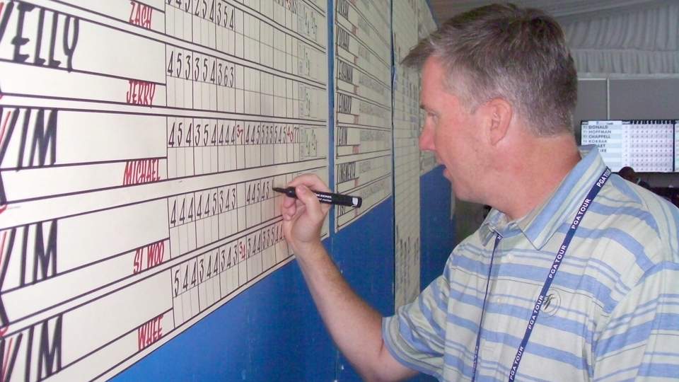 Casey Jones is the Last of the Golf Calligraphers. He is a calligrapher, who writes in the names of all the golfers in the RBC Heritage field and their daily hole-by-hole scores, plus a daily summary sheet leaderboard.