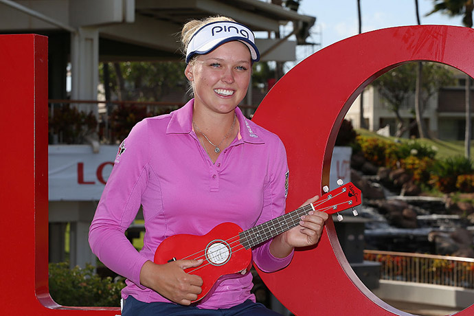 Brooke Henderson of Canada poses at a photo op ahead of the LPGA LOTTE Championship Presented By Hershey at Ko Olina Golf Club.