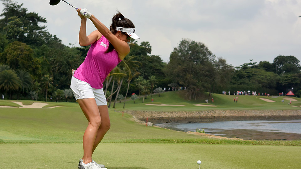 Gerina Piller on the 7th tee during the third round of the 2016 HSBC Women's Champions at the Sentosa Golf Club.