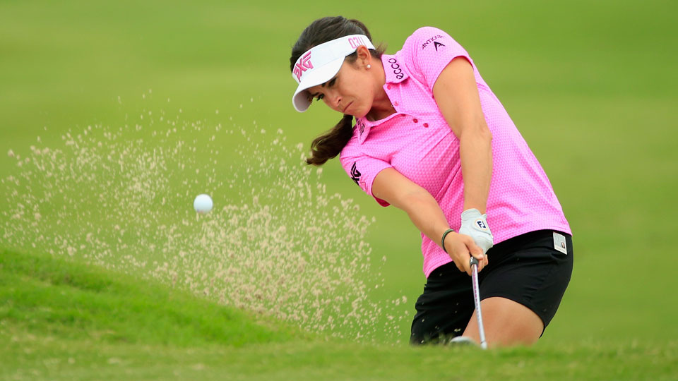 Gerina Piller plays from a bunker on the 10th hole during the second round of the LPGA Tour's Volunteers of America Texas Shootout.