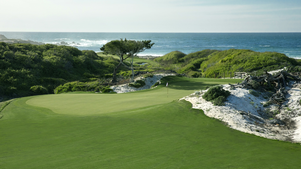 The risk-reward par-5 ninth hole at the Dunes Course at Monterey Peninsula Country Club. The Dunes Course opened on April 30, 2016, after a year-long renovation.