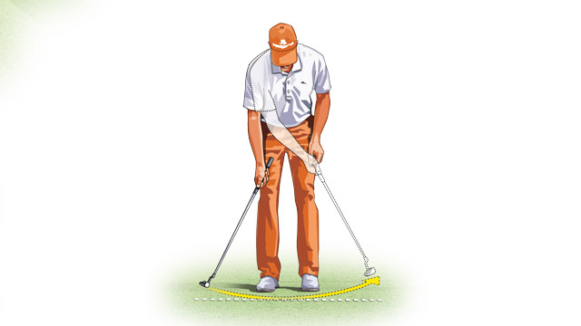 One-arm practice strokes with your right arm help your arc and rhythm. Left-handed one-arm practice strokes help you stay square to the target.