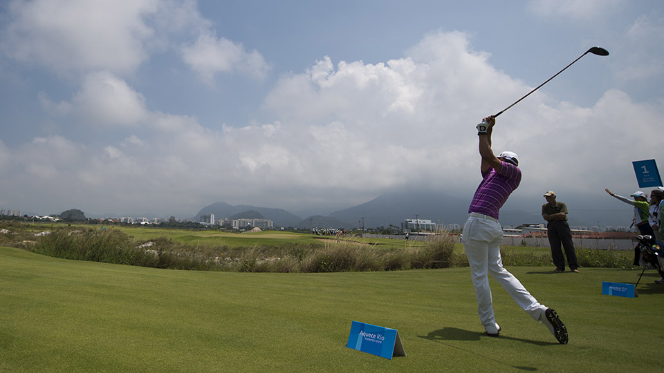 A Brazilian golf player takes part in a test event tournament for the upcoming Rio 2016 Olympic Games at the Olympic Golf Course in Rio de Janeiro, Brazil, on March 8, 2016.