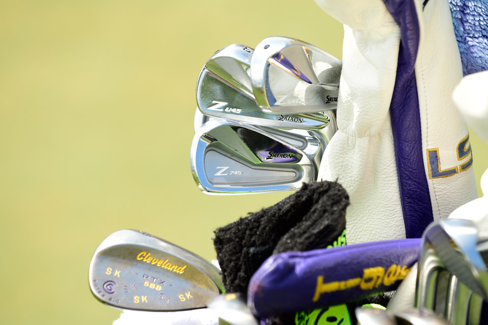 Smylie Kaufman WD'd last week due to a bum wrist. He'll give it a go at the Players Championship using Srixon's Z U45 utility irons and Z 745 irons. The Cleveland 588 RTX 2.0 58° wedge has a purple and gold paint job in honor of his alma mater, LSU.