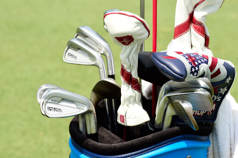 Hoganesque swinger Chad Campbell is still carrying an old set of Adams Idea Black CC1 irons.