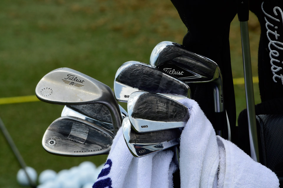Titleist man Scott Piercy's 660 MB blades are covered in lead tape, just like his AP2 long iron and Vokey Design wedge.
