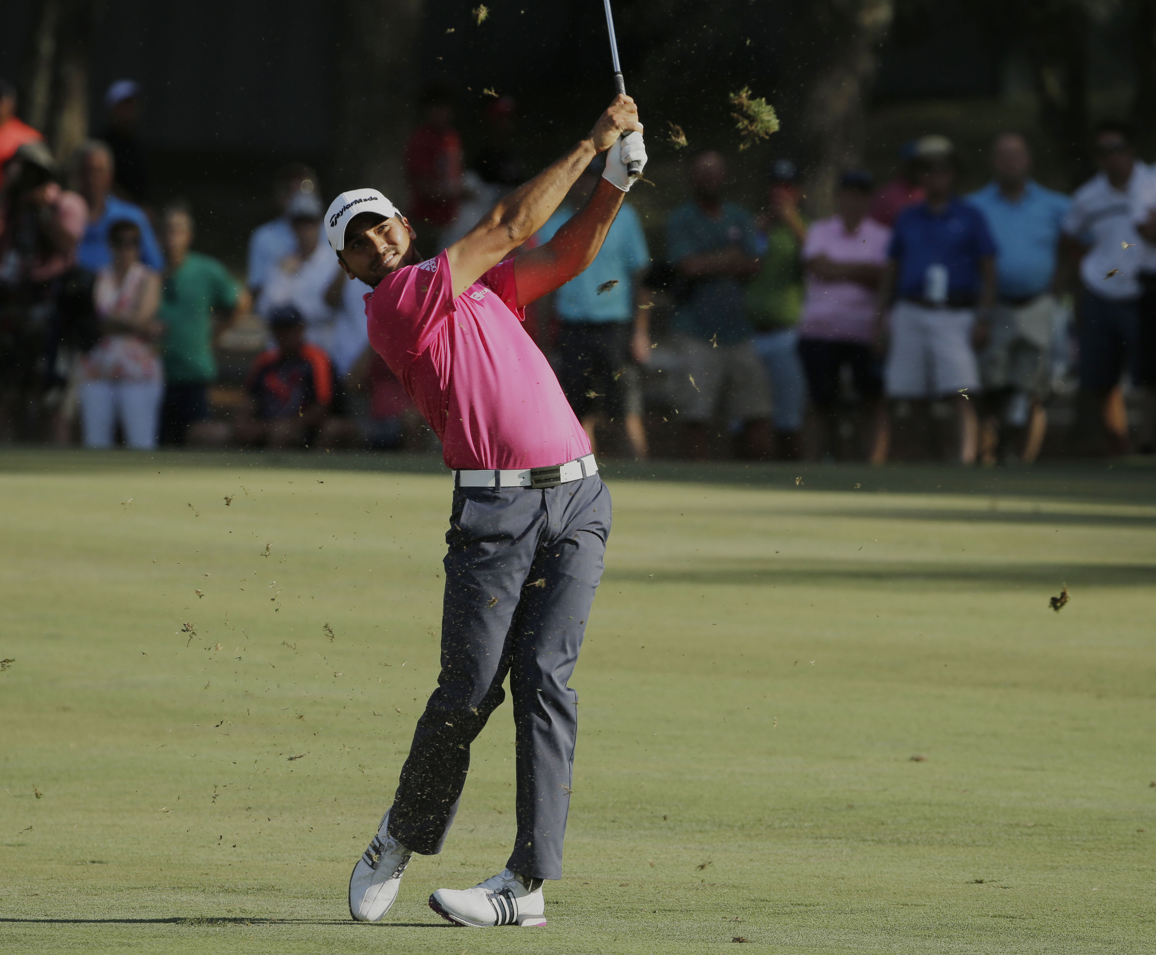 Jason Day of Australia, hits from the 15th hole fairway during the final round of The Players Championship golf tournament Sunday, May 15, 2016, in Ponte Vedra Beach, Fla. (AP Photo/Chris